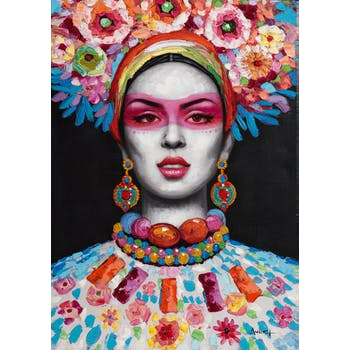 Tableau FEMME POP-ART avec bijoux 70x100cm