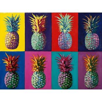 Tableau FLEURS POP-ART Ananas multicolors 90x120cm