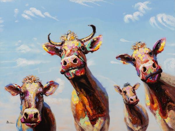 Tableau ANIMAL POP-ART Vaches multicolores 90x120cm