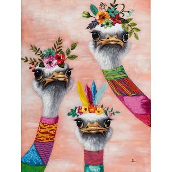 Tableau ANIMAL POP-ART Autruches avec couronne de fleurs multicolores 90x120cm