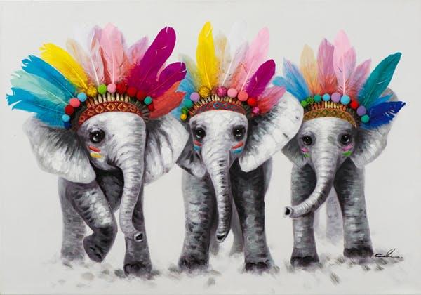 Tableau ANIMAL POP-ART Eléphants avec couvre-chef 70x100cm