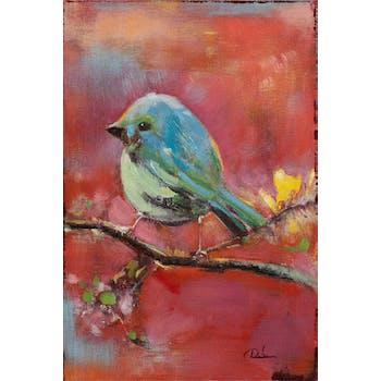 Tableau ANIMAUX Oiseau sur branche tons rouges et bleus 40x60cm