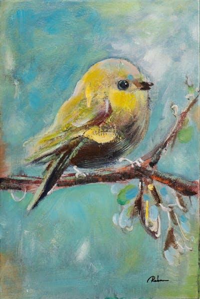 Tableau ANIMAUX Oiseau sur branche tons bleus et jaunes 40x60cm