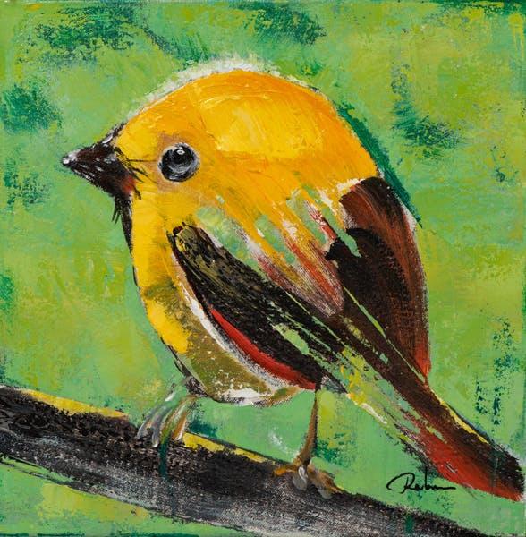 Tableau ANIMAUX Oiseau sur branche tons verts et jaunes 40x60cm