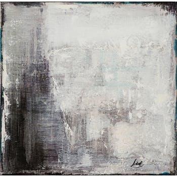 Tableau ABSTRAIT tons blancs et noirs 40x40cm
