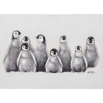Tableau ANIMAUX Groupe de pingouins noirs et blancs 50x70cm