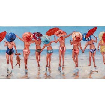 Tableau FEMMES POP-ART Groupe sur la plage multicolore 50x100cm