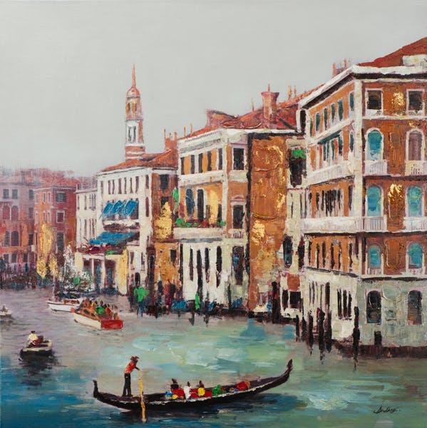 Tableau PAYSAGE URBAIN Vue sur Venise multicolore 100x100cm