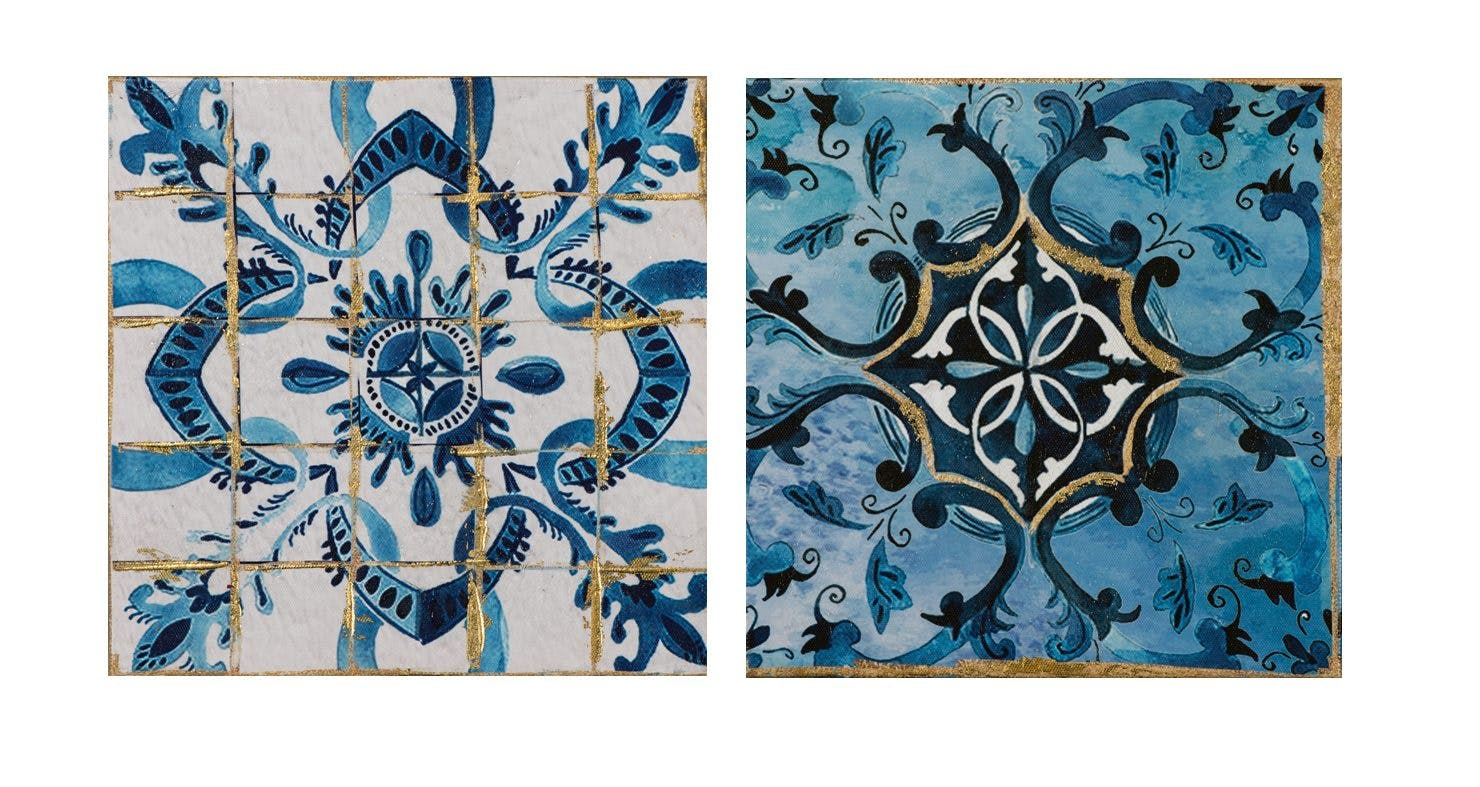 Lot de 2 tableaux ABSTRAIT façon carreauX de ciment tons bleus, dorés et blancs 25x25cm