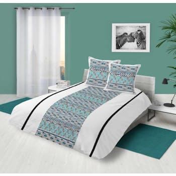 Parure de lit motifs ethniques bleus et noirs 240x220cm housse de couette + 2 taies 63x63cm