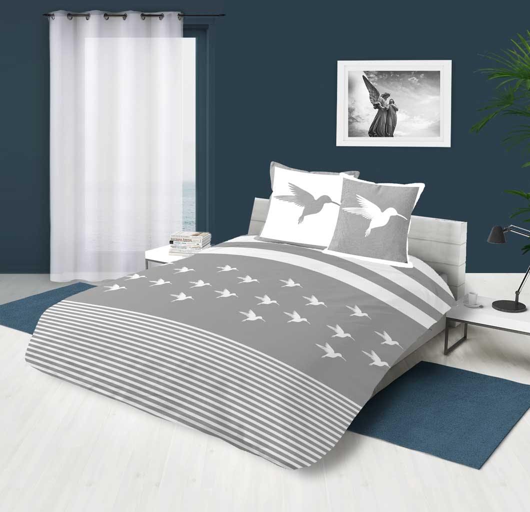 Parure de lit grise et blanche motif colibri 240x220cm housse de couette + 2 taies 63x63cm