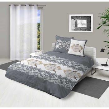 """Parure de lit grise et blanche décor """"Garden roses"""" 240x220cm housse de couette + 2 taies 63x63cm"""