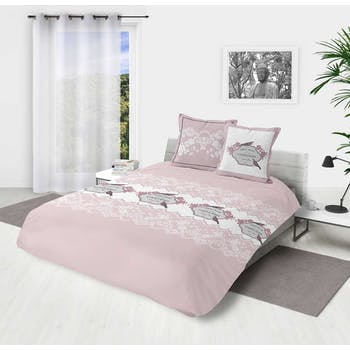 """Parure de lit rose et blanche décor """"Garden roses"""" 260x240cm housse de couette + 2 taies 63x63cm"""