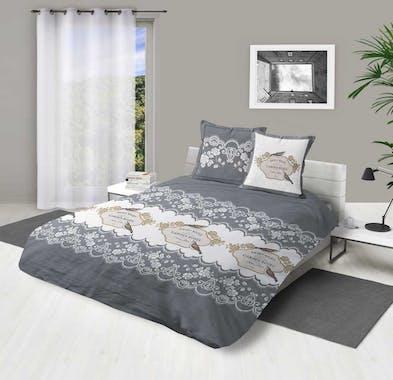 """Parure de lit grise et blanche décor """"Garden roses"""" 260x240cm housse de couette + 2 taies 63x63cm"""