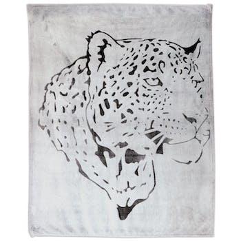 Plaid gris clair décor léopard anthracite 130x150cm