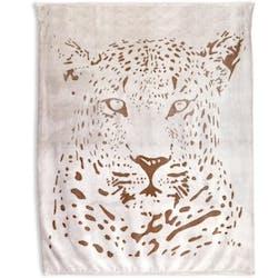 Plaid blanc décor léopard taupe 130x150cm