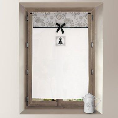 Brise bise blanc avec bande imprimé arabesques grises BLACK DRESS 60x90cm
