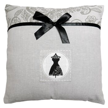 Coussin gris avec bande imprimé arabesques BLACK DRESS 40x40cm