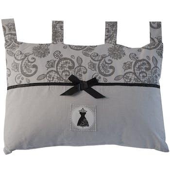 Tête de lit grise avec bande imprimée arabesques BLACK DRESS 45x70cm