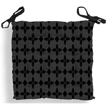 Galette de chaise capitonnée damier noir 40x40x5cm