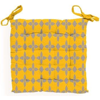 Galette de chaise capitonnée damier jaune 40x40x5cm