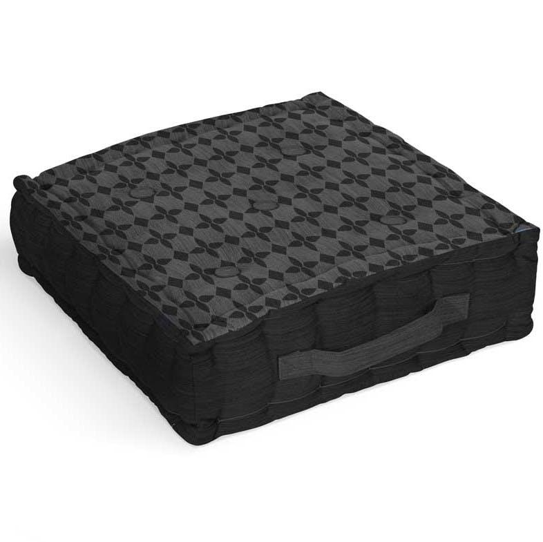 Coussin de sol en coton damier noir 40x40x8cm