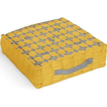 Coussin de sol en coton damier jaune 40x40x8cm