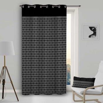 Rideau gris damier noir 135x250cm