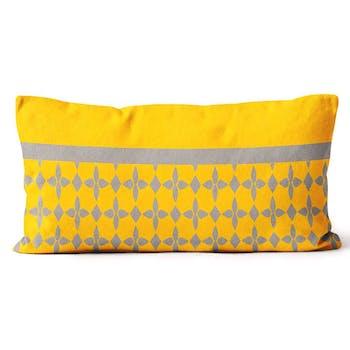 Coussin damier jaune 32x50cm