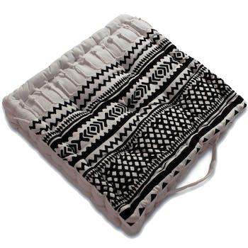 Coussin de sol imprimé ethnique noir et blanc 40x40x8cm
