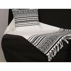 Plaid en coton blanc et imprimé ethnique noir et blanc 100x200cm