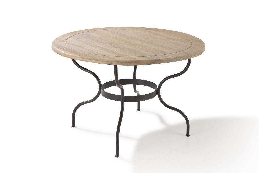 Table ronde 120cm chêne et fer forgé CIGALE