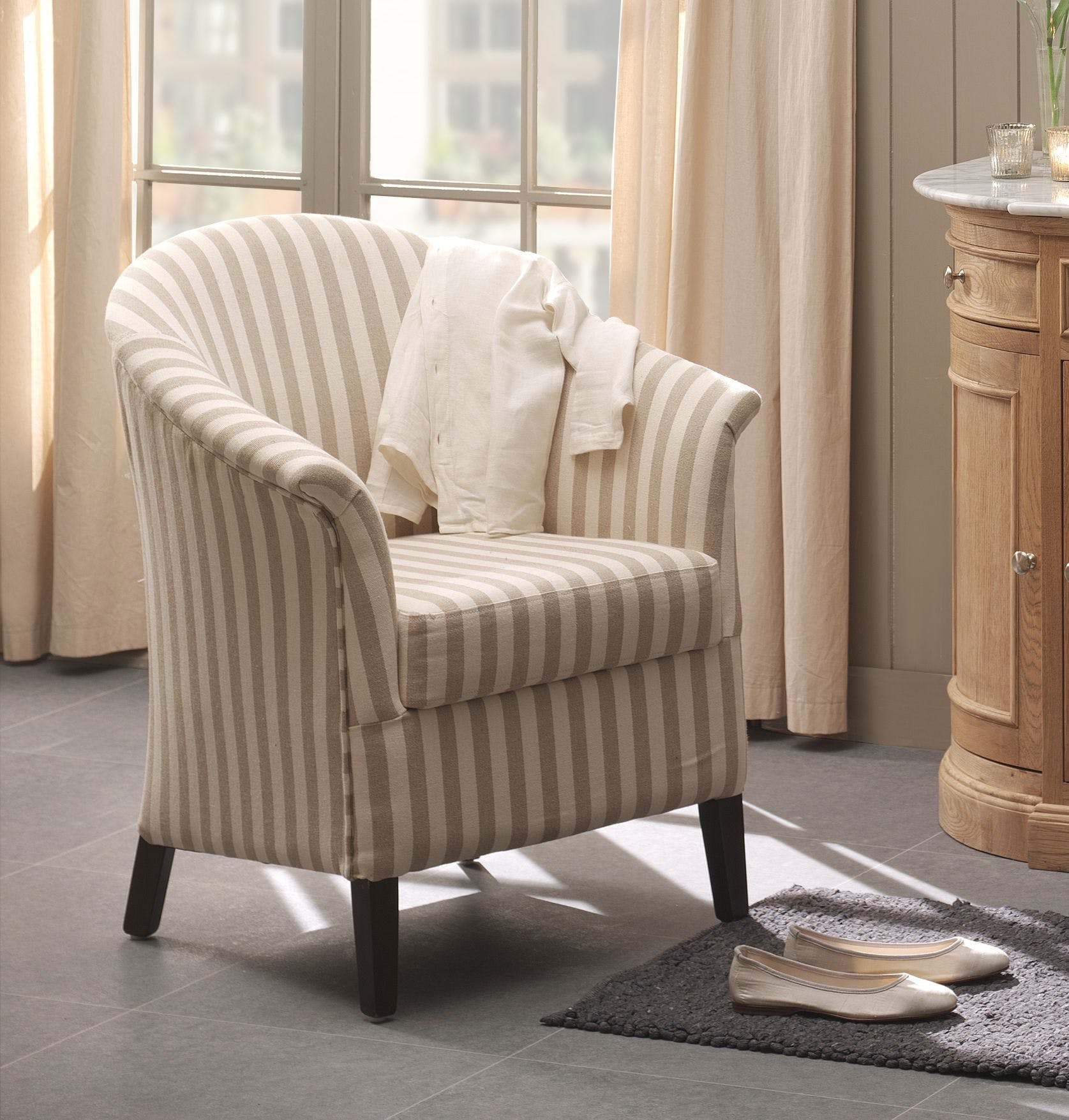 Fauteuil cabriolet blanc crème rayures MIRA