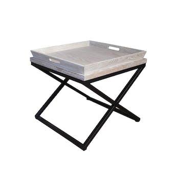 Table d'appoint plateau Chêne et métal 60x56cm SULLY