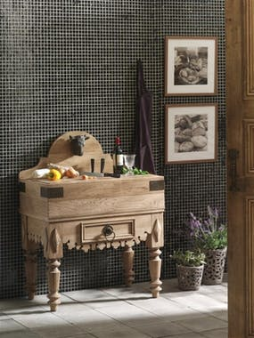 Billot de boucher Classique chic Chêne massif 93x55x119cm HAMBOURG