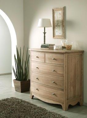 Commode 5 tiroirs Classique chic Chêne massif 105x55x103cm MEDICIS