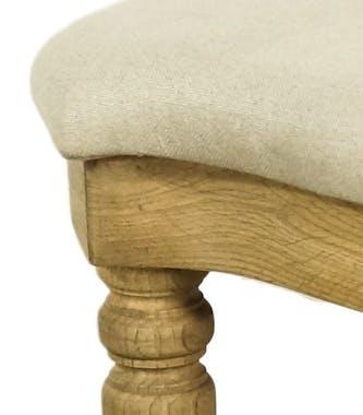 Tabouret pouf Classique Chic Dagobert capitonné MEDICIS L 43 x P 38 x H 47 Chêne Tissu gris