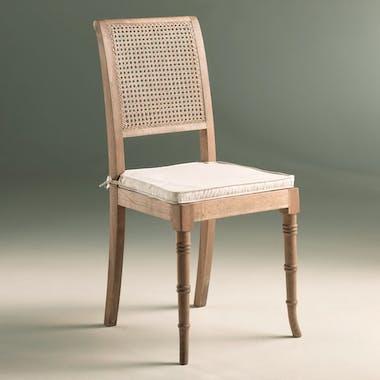 Chaise cannée Classique Chic avec son coussin d'assise L45xP43xH97cm Chêne massif MEDICIS