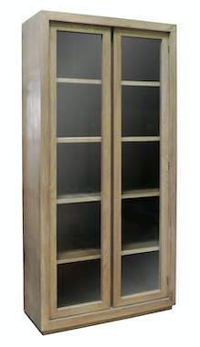 Bibliothèque 2 portes vitrées chêne massif SOOMAA réf 30020865