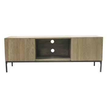 Meuble TV 2 portes 1 niche chêne massif métal SOOMAA réf 30020867
