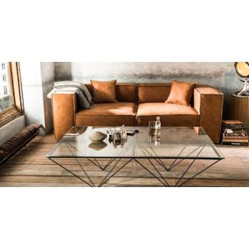 Table basse rectangulaire Design Verre et métal 142x92cm LOUVRE