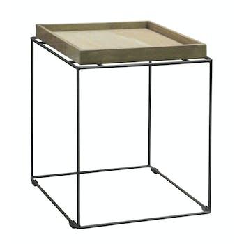 Table d'appoint Bout de Canapé chêne massif métal SOOMAA réf 30020876