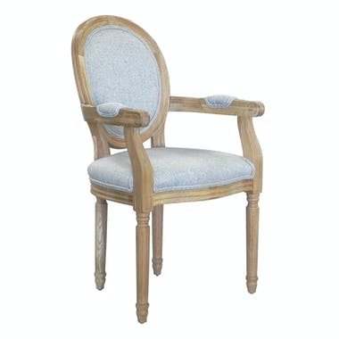Chaise médaillon Accoudoir Fauteuil tissu gris MEDICIS réf 30020880