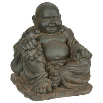 Bouddha du Bonheur affichant un large sourire en pierre reconstituée 36,5x35x36,5cm