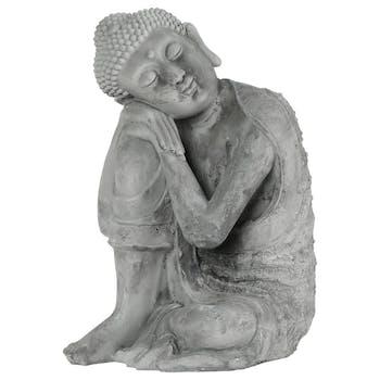 Statue bouddha assis penseur Ciment 36cm