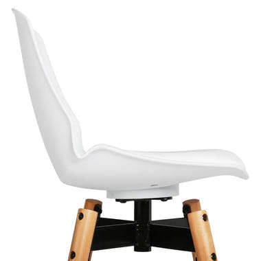 Chaise de Bar assise en PU blanc et pieds bois naturel avec support pieds 50x50xH104,5cm