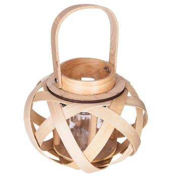 Lanterne cèdre tressé bois clair