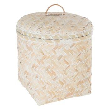 Panier à couvercle bambou blanchi D33cm