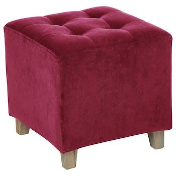 Pouf carré capitonné velours rose cerise
