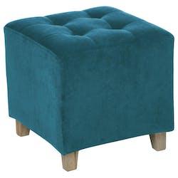 Pouf carré capitonné velours bleu canard